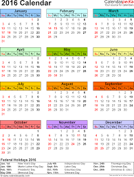 Printable 2016 Monthly Calendar With Holidays Hauck Mansion