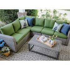 SEBrands Forsyth 5 Piece Wicker Sectional Deep Seating Group with