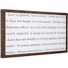 love never fails wood wall decor with