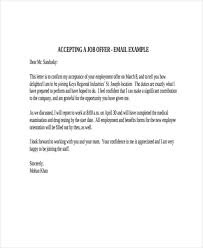 How To Accept A Job Offer Email Sample 8 Employment Offer Letter Templates Free Samples Examples Format