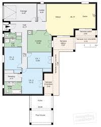 Maison De Plain Pied Avec Trois Chambres D Tail Du Plan De Couleur Maison Constructione Plan De Maison De Plain Pied