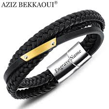 2019 aziz bekkaoui genuine leather bracelet punk engrave name stainless steel bangles male diy logo rope chain bracelet drop from fengyune