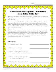 rikki tikki tavi character descriptions worksheet character description characters from rikki tikki tavi