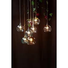 rowan clear glass ceiling pendant light silver cable medium