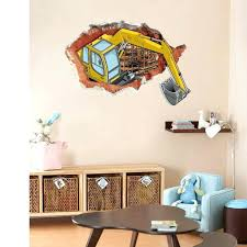 construction wall decals also cracked wall decal stickers excavator construction wall art mural poster kids boys room wall paper home decor wall graphic  on home decor wall art nz with construction wall decals also cracked wall decal stickers excavator