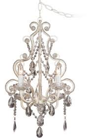 amazing home astounding plug in crystal chandelier of leila 11 wide white finish beaded swag