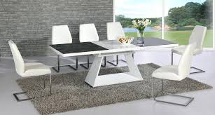 extending dining table and chairs clearance glass gloss white black ch