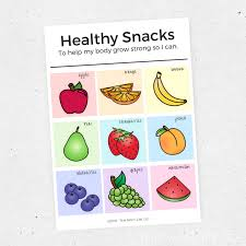 Healthy Snack Chart For Kids Set Of Two This Mom Life