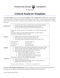 Book Analysis Template Critical Analysis Template