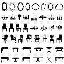 set of diffe furniture silhouettes mirrors chandeliers chairs and tables vector image to zoom