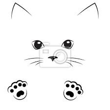 Fototapeta Vektorové černé Obrys Kreslení Kočičí Tvář S Tlapky