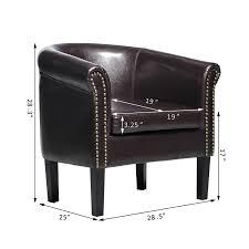 com homcom elegant contemporary pu leather tub barrel club arm seat chair dark brown kitchen dining