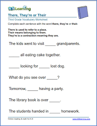 Grade 3 vocabulary worksheet - use there, they're or their | K5 ...