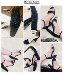 <b>Vicamelia</b> Women Glossy Block Heel Sandals Shiny Sequins High ...