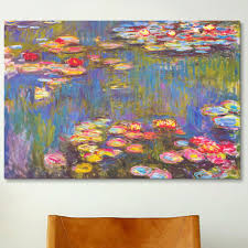 icanvas water lilies 1916 by claude monet painting print on canvas