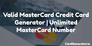 Generator Card Number Unlimited Mastercard Credit Valid