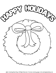 Small Picture Winter printable coloring page Happy Holidays Wreath