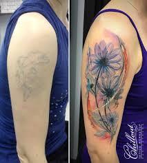 перекрытие старой татуировки цветы Chillout Tattoo Workshop