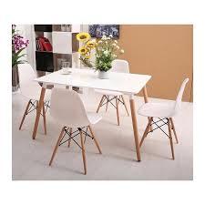 Table style scandinave blanche rectangulaire et pieds en bois - RETRO