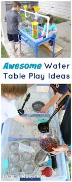 Awesome Water Table Play Ideas - LEGO boats, colorful eruptions, and more.  Love