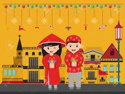vector vietnamese boy and with gifts new year