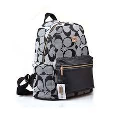 Coach Logo Monogram Medium Grey Backpacks DPF