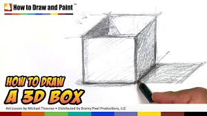 how to draw 3d shapes art for kids 3d box drawing lesson mat you