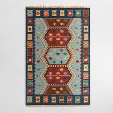 blue flatweave wool pradeep area rug