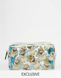 skinnydip asos exclusive pug print make up bag