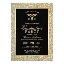Graduation Party Announcement 2018 Gold Medical Nursing School Graduation Party Card Ladyprints
