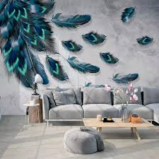 custom mural wallpaper 3d fashion colorful hand painted feather texture wallpaper for walls roll bedroom living room home decor flower wallpaper flower
