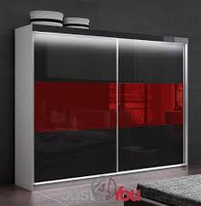 Bedroom Furniture Mona Lisa  LED With Fronts In High Gloss - Red gloss bedroom furniture