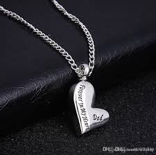 whole silver love heart cremation ashes urn pendant necklace engraved dad forever in my heart memorial father jewelry gift mens gold chains necklace
