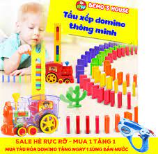 Báo giá [SIÊU HÈ KHUYẾN MÃI]Đồ chơi thông minh cho bé, tầu hỏa xếp hình  domino,tàu hỏa đồ chơi (Tặng súng nước độc đáo). chỉ 159.000₫