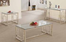 contemporary satin glass metal coffee table set living room