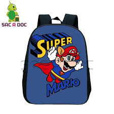 funny super mario backpack children book bags cartoon primary kindergarten backpack for boys s
