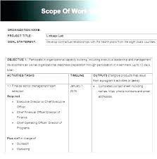Simple Statement Of Work Template Scope Of Work Template Word