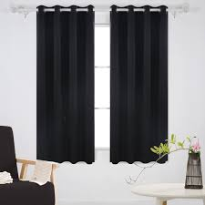 com deconovo solid grommet top curtains blackout curtains thermal insulated light blocking curtains for bedroom black 52w x 63l inch 1 pair home