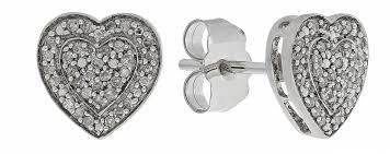 revere 9ct white gold 0 10ct tw diamond heart cer studs from revere