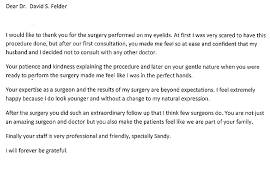 Thank You Letter To Doctor Extraordinary Patient Thank You Cards Fort Lauderdale Letter From Blepharoplasty