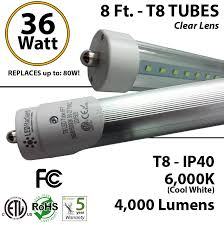 8ft tube light t8 led 36w 4000lm 6000k clear lens ul ledradiant Led T8 Hybrid Series Wiring Diagram With Out A Ballast 8ft led t8 tube 36w 4000lm 6000k ip40 clear lens