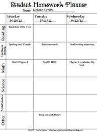 Free Homework Planner Homework Planner Template Free Printable Weekly Homework Assignment