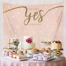 Engagement Cake Table Decorations Engagement Tapestry Dessert Table Decor Photo Booth Prop Wall