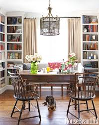 dining room and office. Floor-to-ceiling Bookcases Give Depth To The Dining Room \u2014 Office-library. And Office