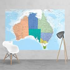 laminated political feature wall map of australia wallpaper mural 158cm x 232cm