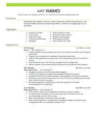 sample resume for hotel and restaurant management graduate collection of  solutions fast food sample resume with
