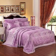 2018 flowers light purple duvet cover set silk cotton blend bedlinens jacquard queen king bedding set sheet pillowcases cabin bedding custom bedding from