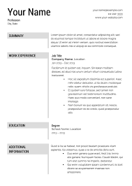 Free Easy Resume Templates