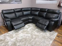 Furniture Living Room Black Genuine Leather Corner Sofa With Recliner Mixed  Square White Fur Rug Lazy