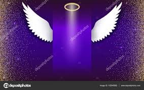 angel wings with golden halo hovering on the dark background wings and golden halo card with white